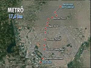 Novo projeto do Metrô de Curitiba liga as regiões sul e norte (Foto: Reprodução / RPC TV)
