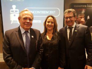 João Gouveia, Diretor Executivo da ANPTrilhos; Roberta Marchesi, Superintendente da ANPTrilhos; e Vicente Abate, Conselheiro da ANPTrilhos e Presidente da ABIFER