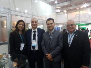 Eli Caneti, Gerente de Expansão do MetrôRio, e Ricardo Benício, Gerente de Engenharia do MetrôRio, participaram da NT EXPO e foram recebidos pela equipe da ANPTrilhos no estande da Associação